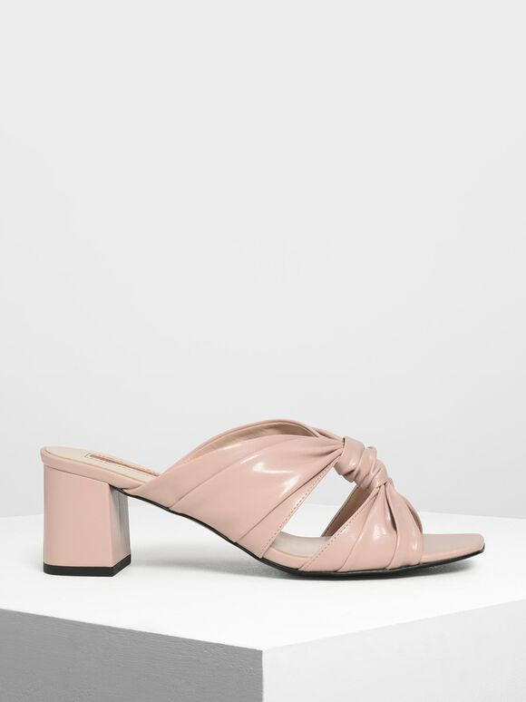 Ruched Block Heel Slide Sandals, Nude, hi-res