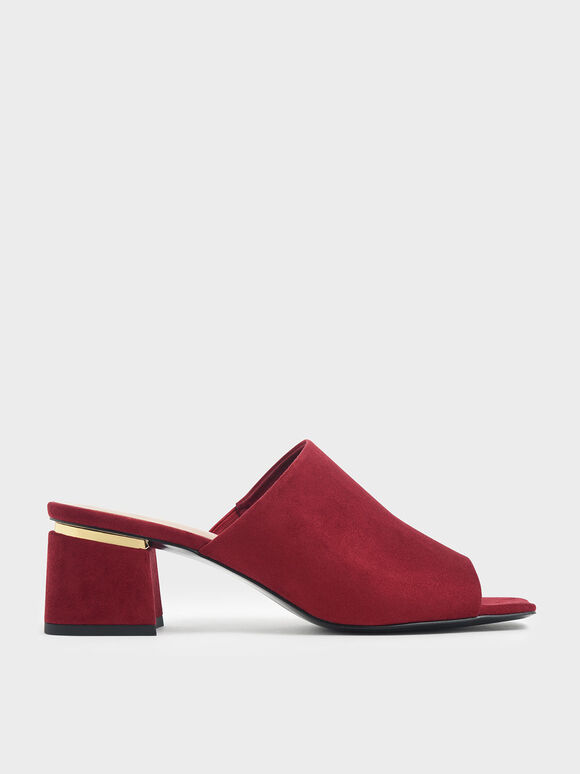 Block Heel Textured Slide Sandals, Red, hi-res