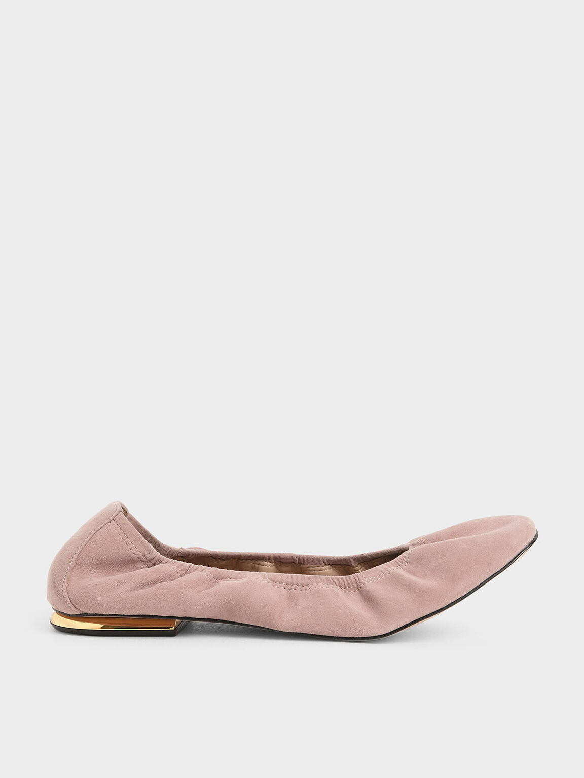 Ruched Ballerina Flats (Kid Suede), Blush, hi-res