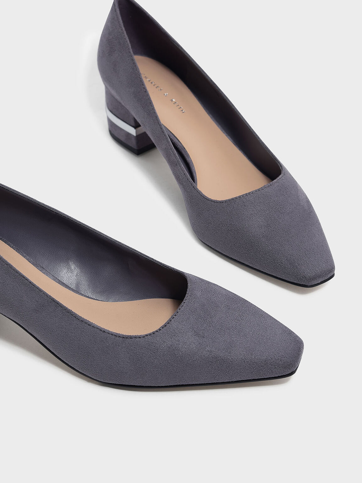 Metallic Accent Heel Pumps, Grey, hi-res