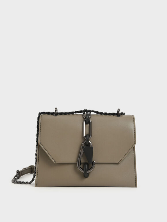 Metallic Accent Turn-Lock Crossbody Bag, Taupe, hi-res