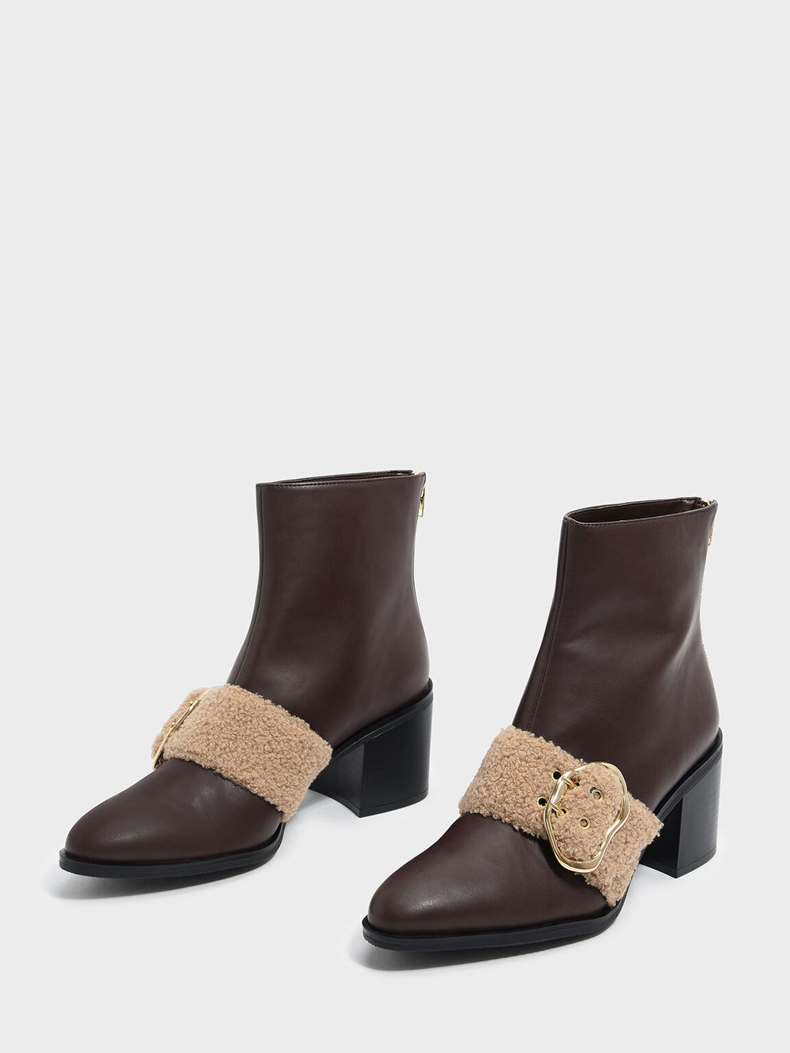 Furry Strap Detail Calf Boots, Dark Brown, hi-res