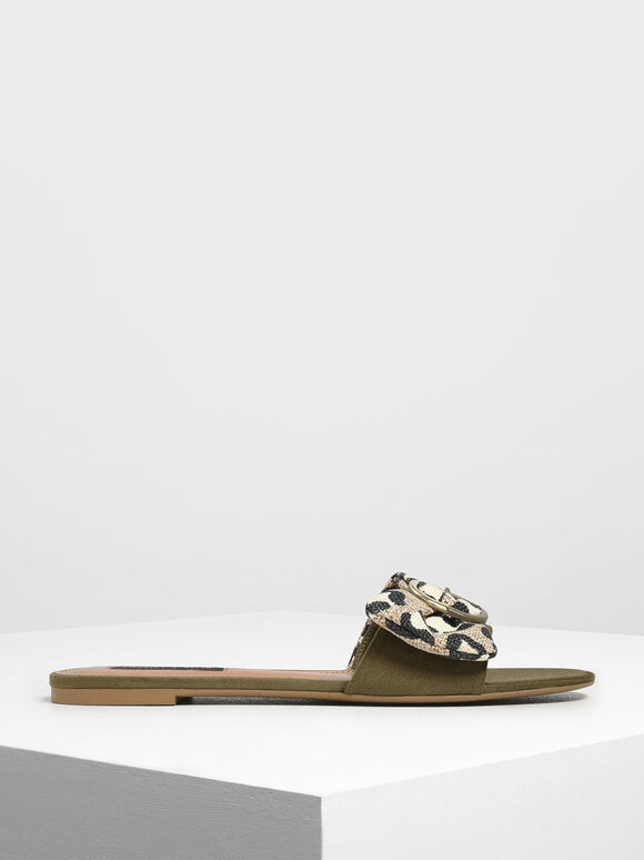 Ruched Two-Tone Buckle Animal Print Slide Sandals, Olive, hi-res