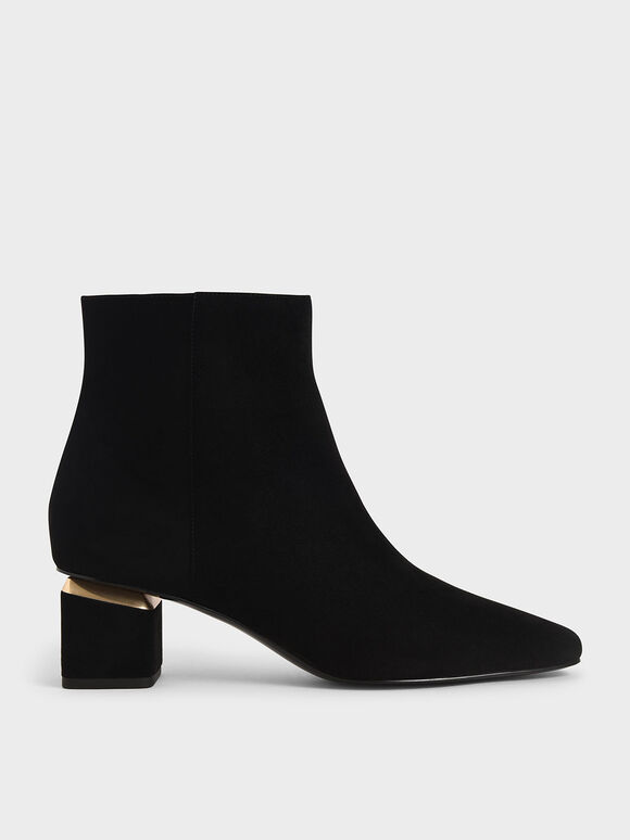 Block Heel Ankle Boots, Black Textured, hi-res