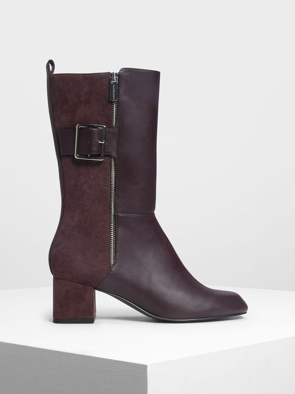 Buckle Detail Calf Boots, Purple, hi-res