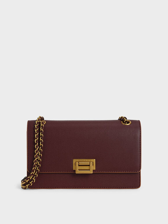 Chain Strap Push-Lock Shoulder Bag, Burgundy, hi-res
