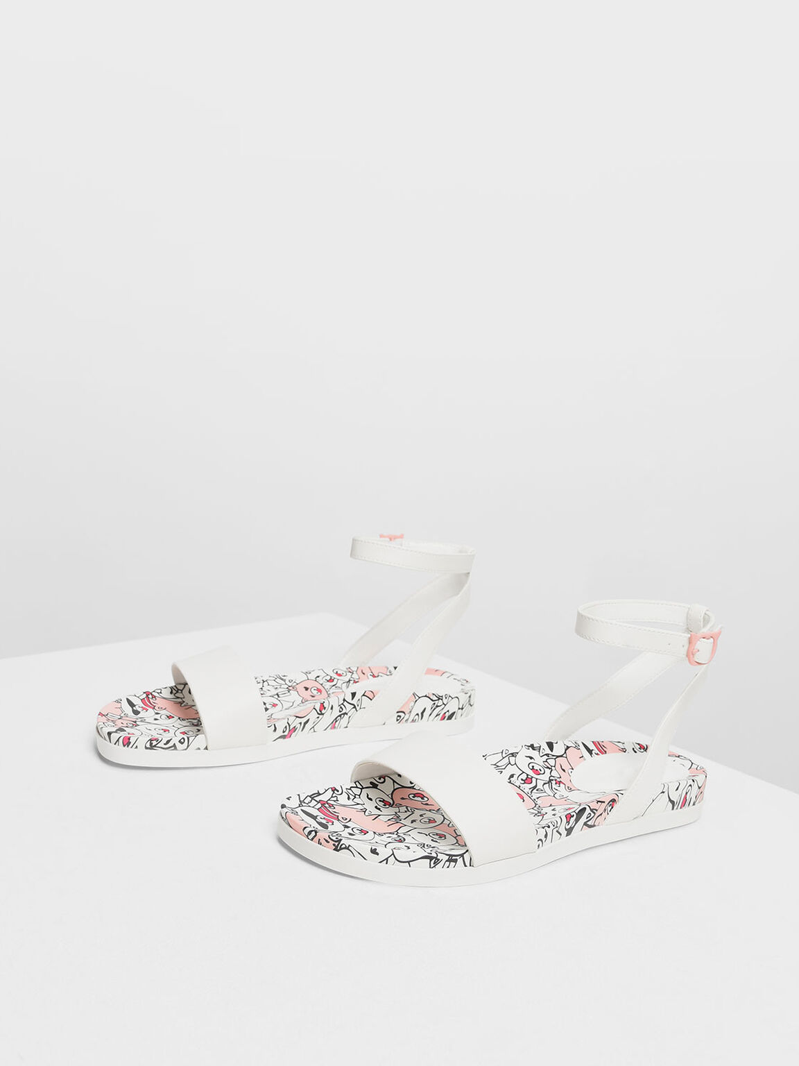 Zodiac Pig Sandals, White, hi-res