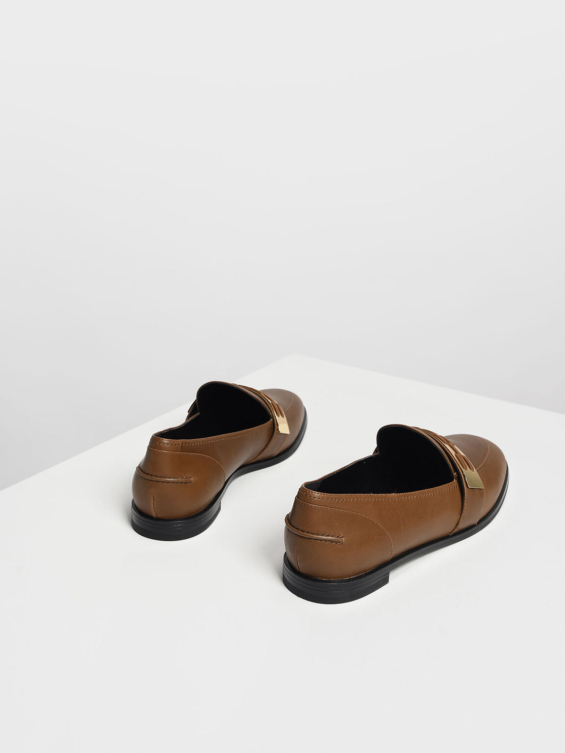 Metallic Accent Loafers, Cognac, hi-res