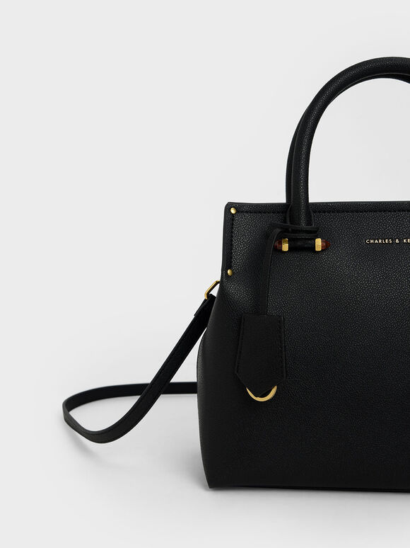 Double Handle Structured Tote Bag, Black, hi-res