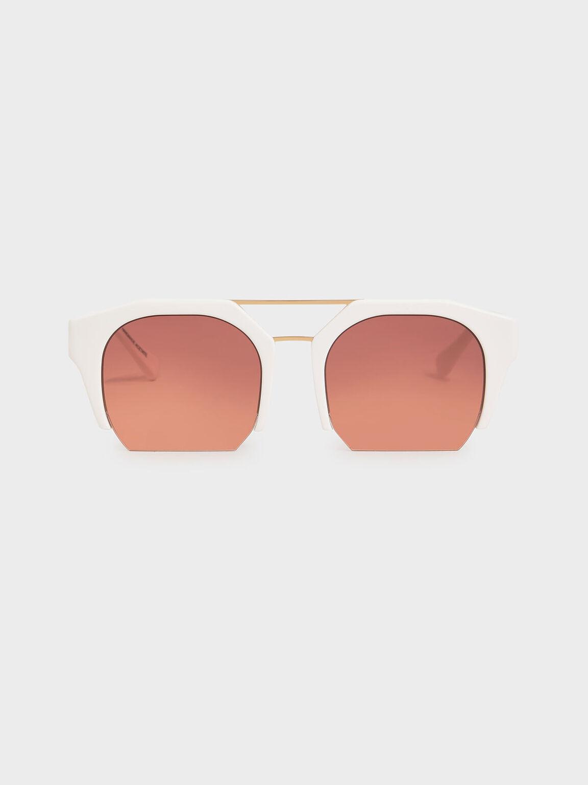 Cut-Off Frame Geometric Sunglasses, Mauve, hi-res