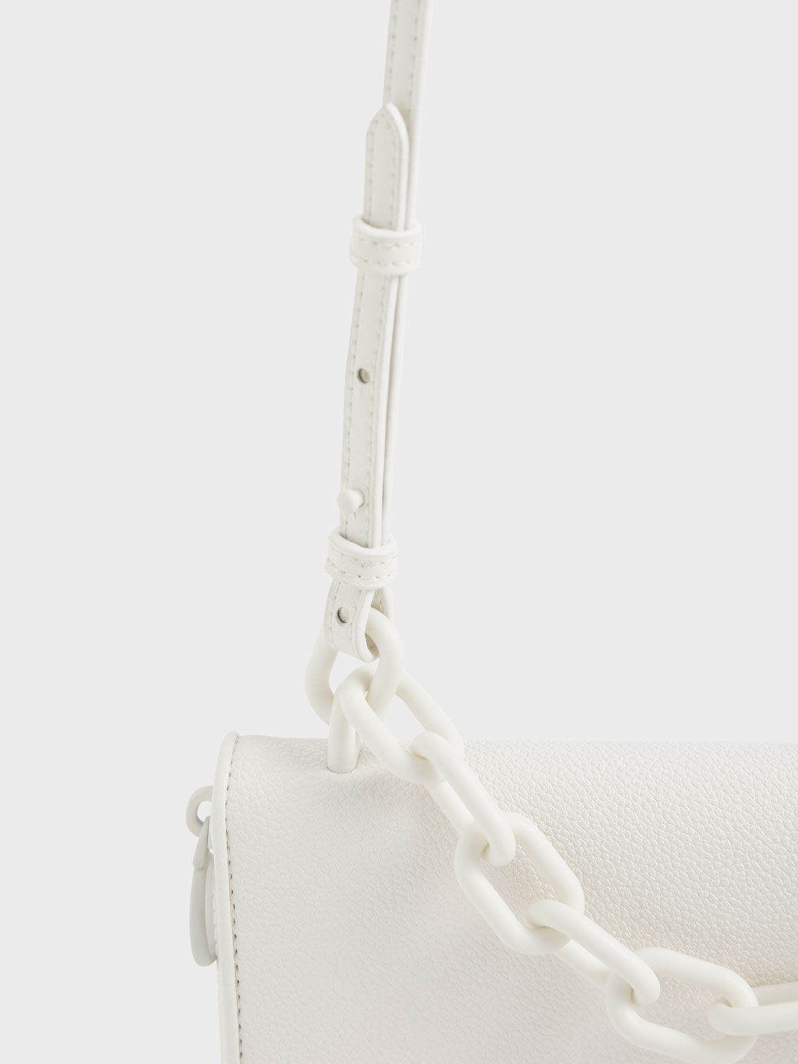 Chain Link Long Wallet, White, hi-res