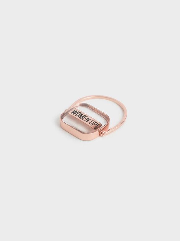 """WOMEN UP!"" Acrylic Ring, Rose Gold, hi-res"