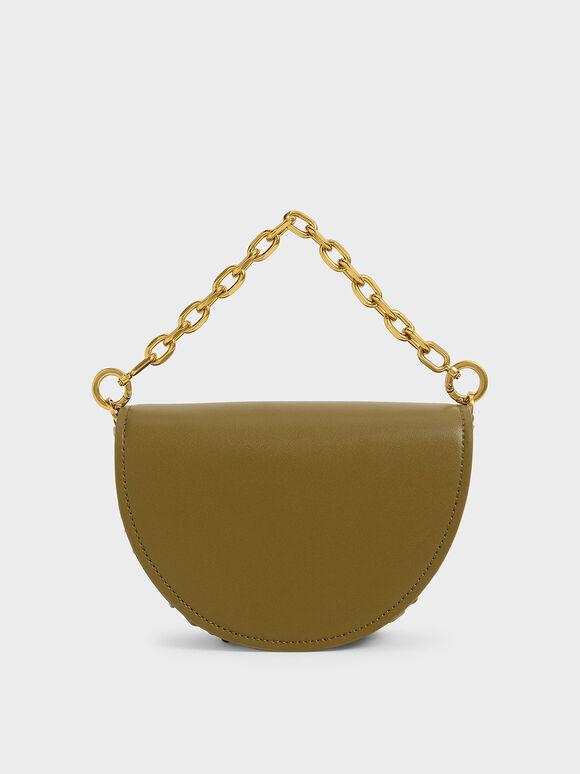 Chain Handle Half Moon Bag, Olive, hi-res