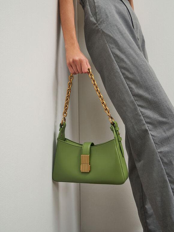 Chain Handle Shoulder Bag, Green, hi-res