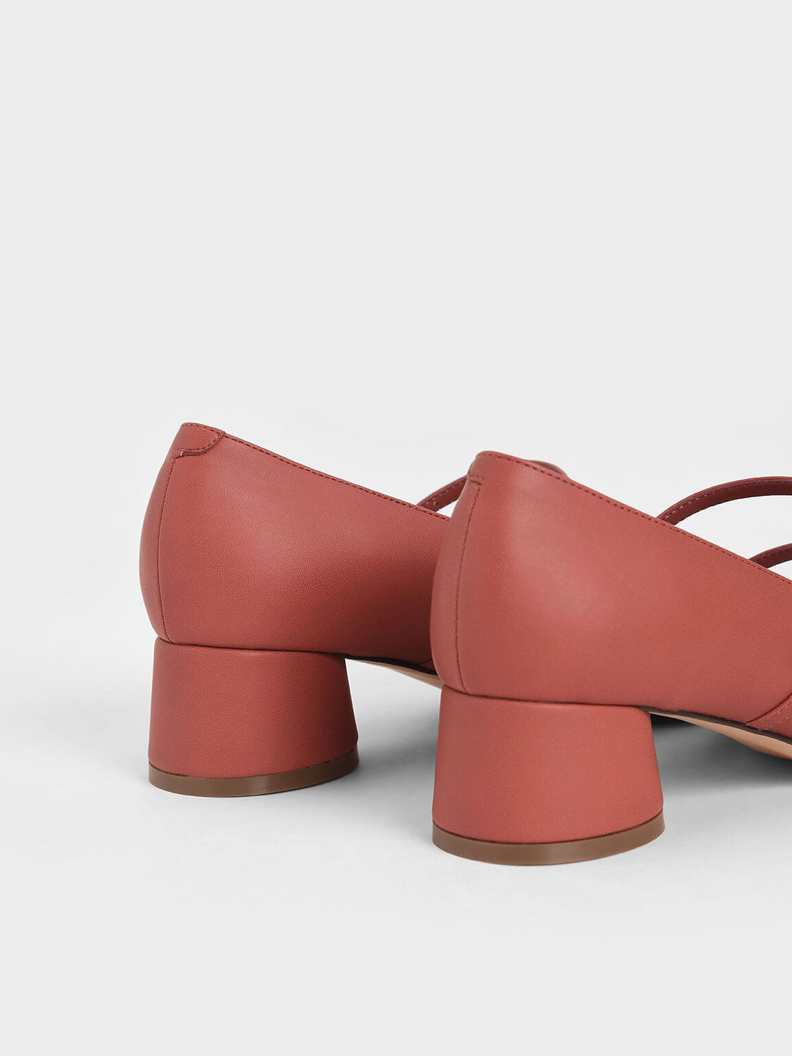 Cylindrical Heel Mary Janes, Brick, hi-res
