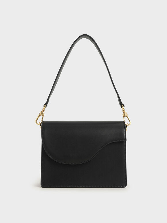 Angular Flap Shoulder Bag, Black, hi-res