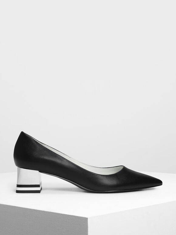 Striped Chrome Heel Pumps, Black, hi-res