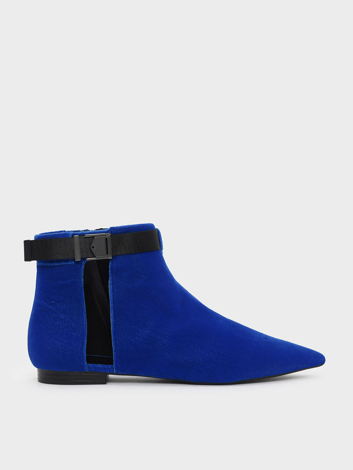 Latch Lift Buckle Pointed Boots, Blue, hi-res