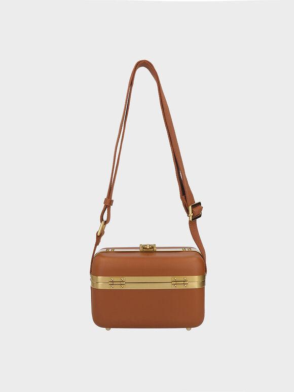 Buckle Boxy Bag, Cognac, hi-res