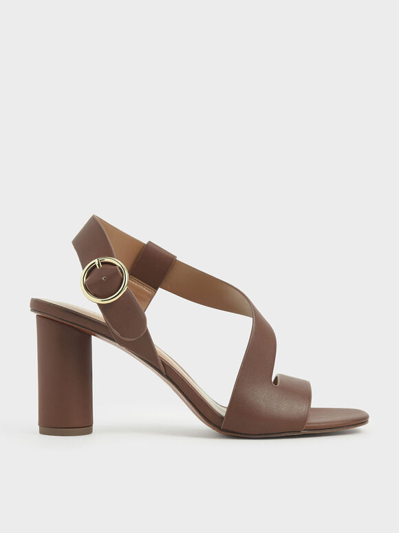 Asymmetric Strap Heeled Sandals, Brown, hi-res