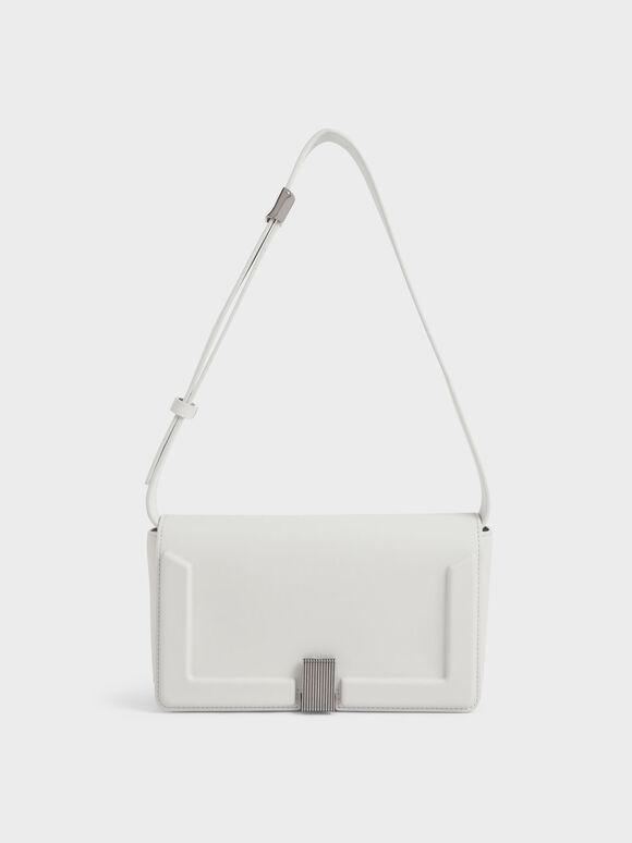 Elyse Turn-Lock Shoulder Bag, White, hi-res