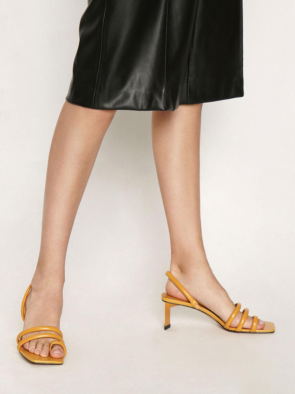 Toe Loop Strappy Slingback Heels, Yellow, hi-res