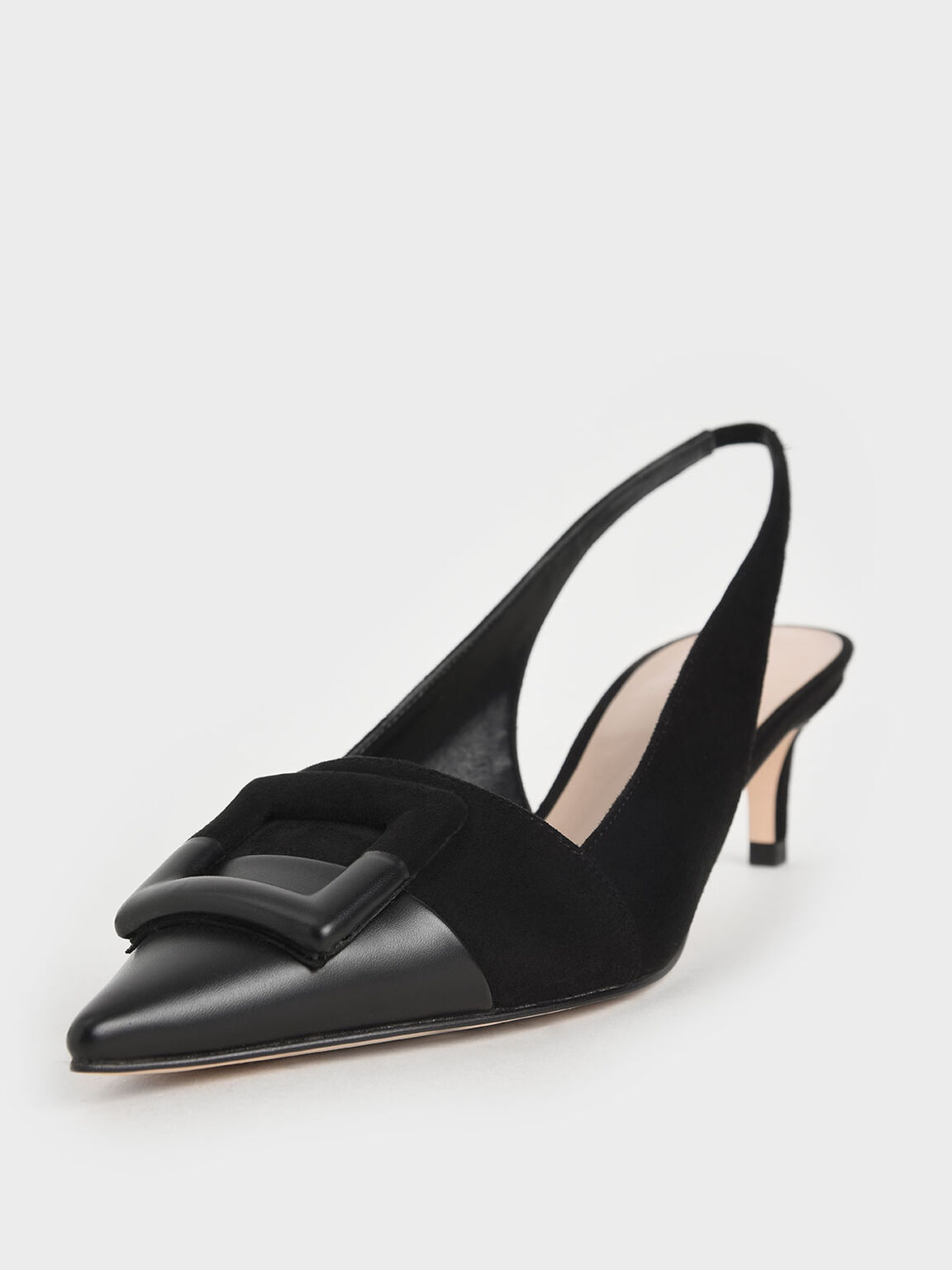 Textured Mismatched Slingback Pumps, Black, hi-res