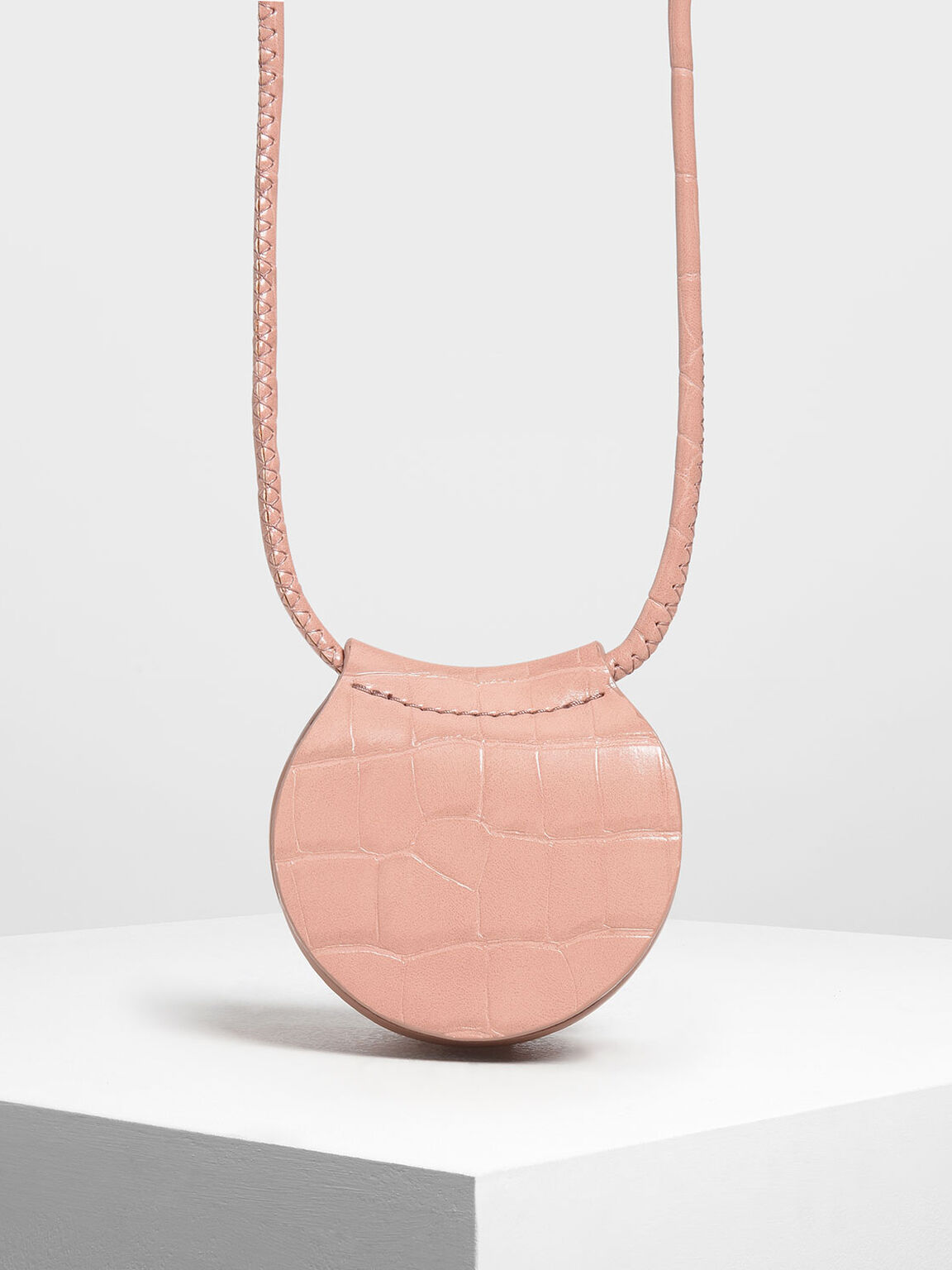 Croc-Effect Necklace Bag, Pink, hi-res
