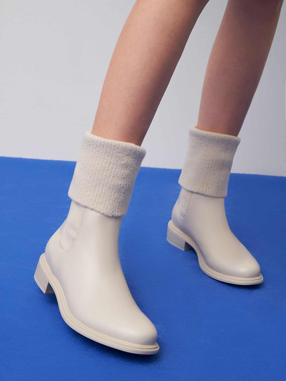 Knee-High Knitted Sock Boots, Chalk, hi-res