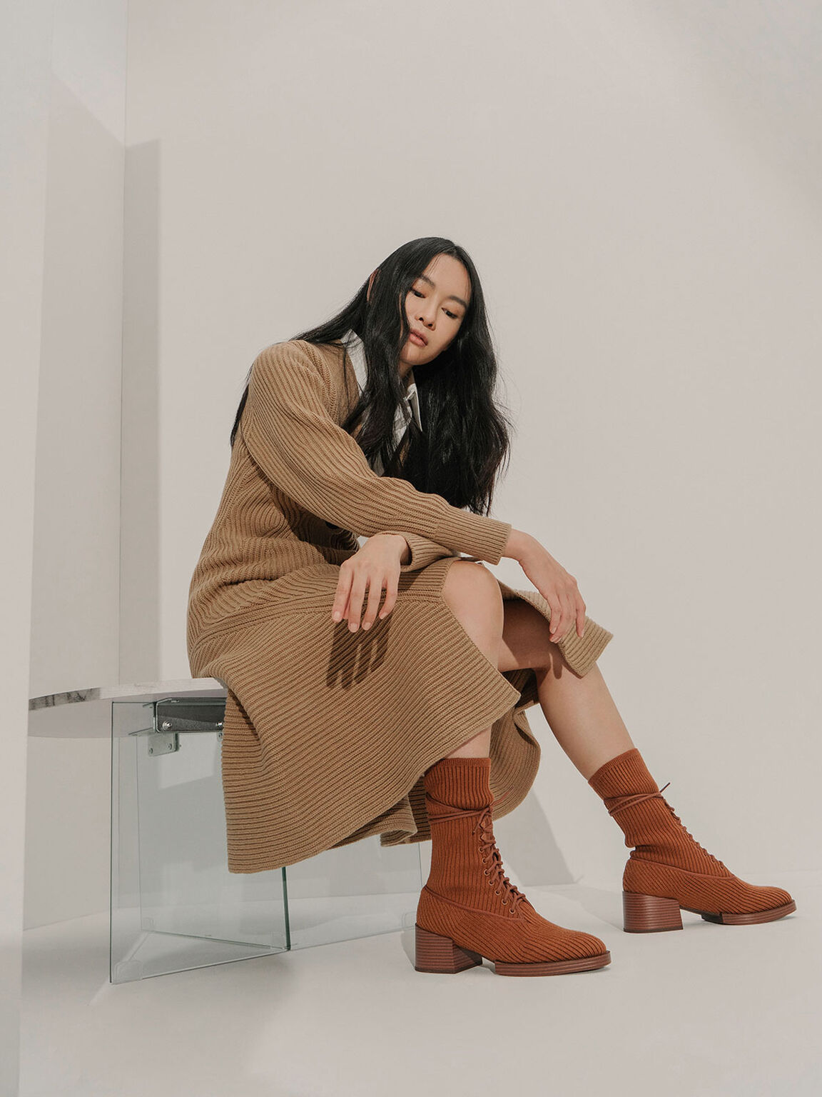 Knitted Lace-Up Ankle Boots, Brick, hi-res