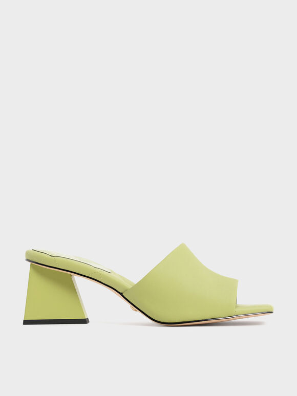Leather Trapeze Heel Mules, Green, hi-res