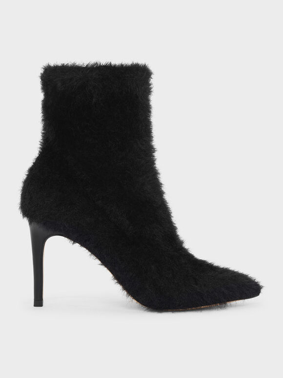 Furry Pointed Boots, Black, hi-res