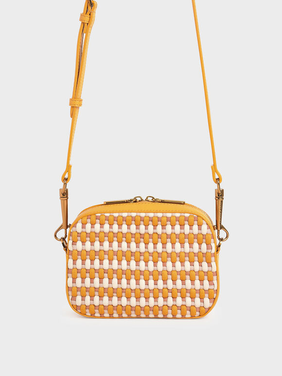 Multicoloured Woven Crossbody Bag, Mustard, hi-res