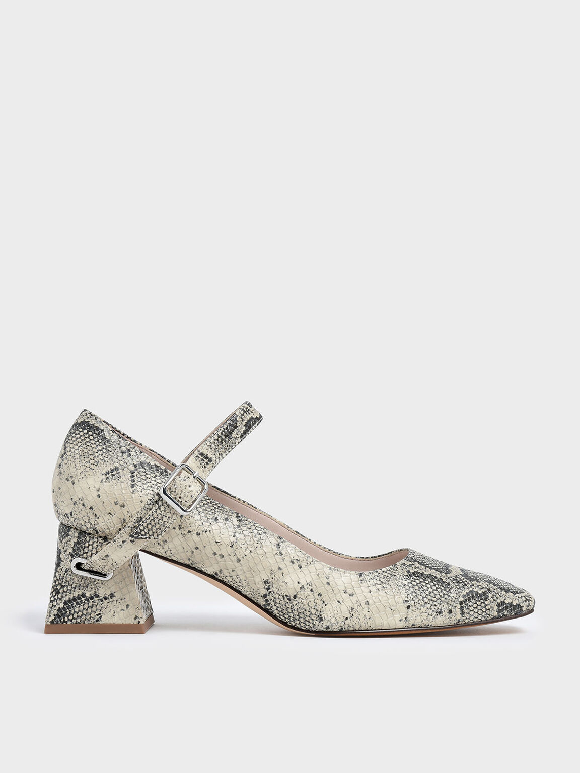 Snake Print Flare Block Heel Mary Jane Pumps, Grey, hi-res