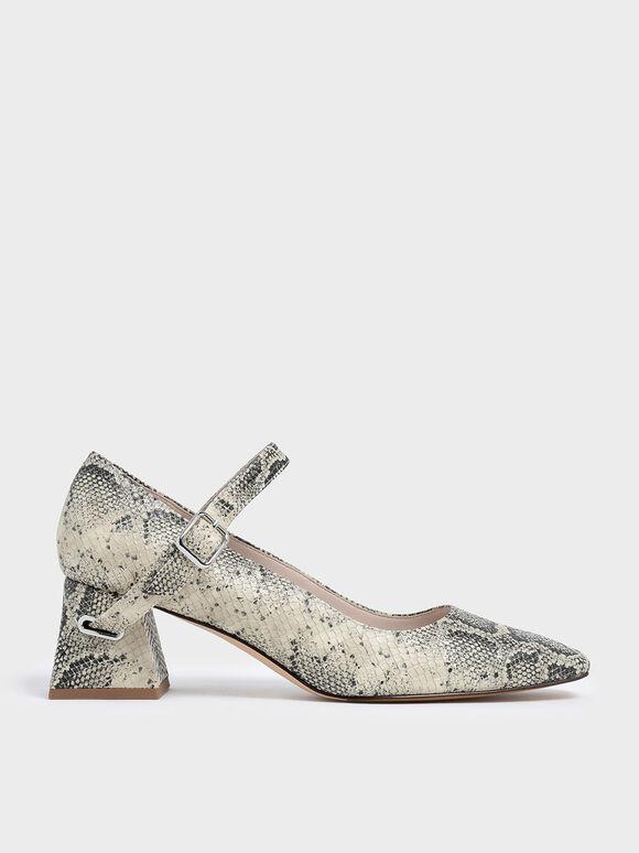 Snake Print Flare Block Heel Mary Jane Pumps, Grey, hi-res