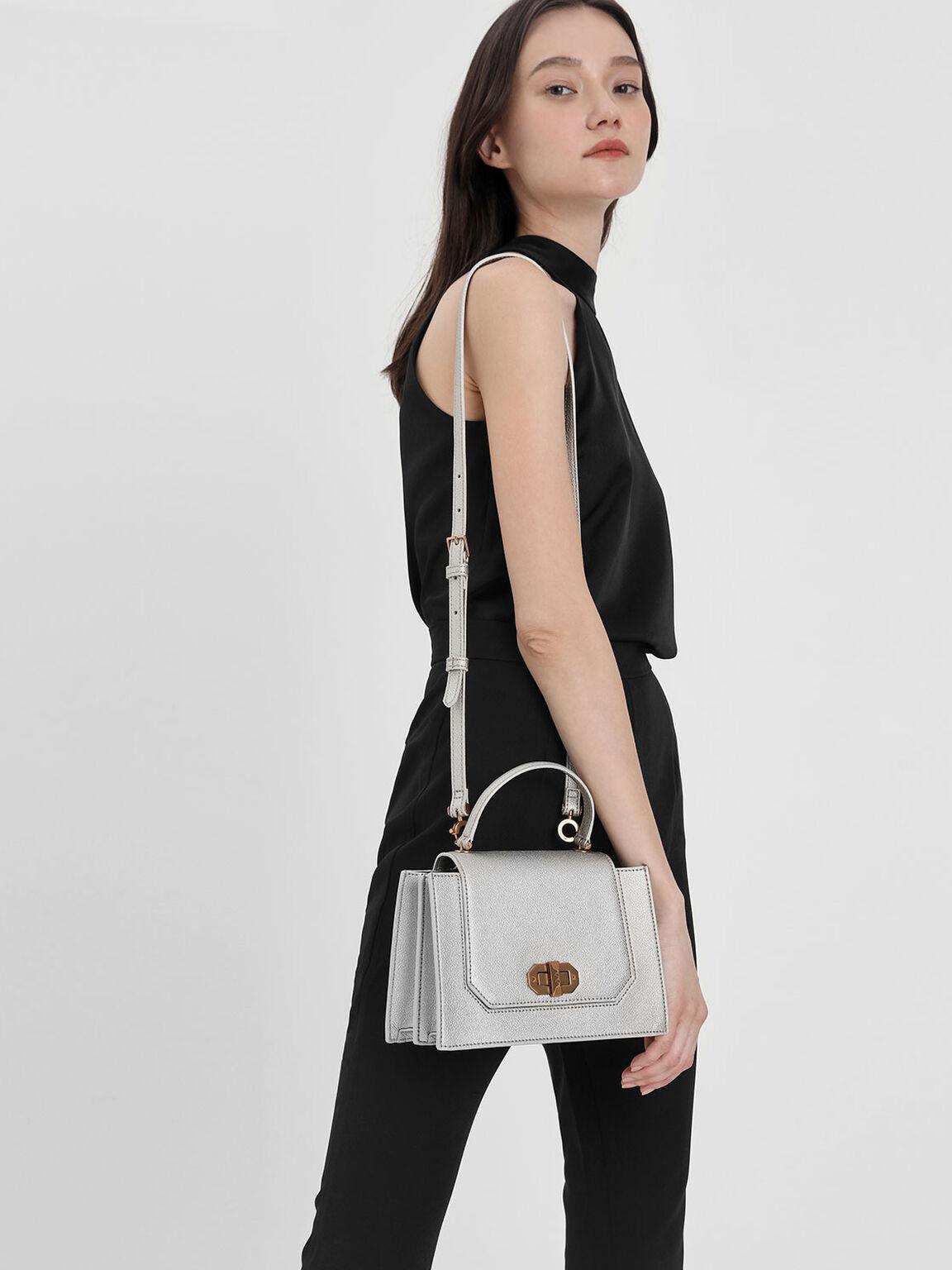 Turn Lock Top Handle Bag, Silver, hi-res