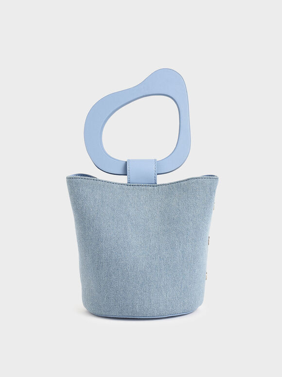 Textured Sculptural Handle Bucket Bag, Denim Blue, hi-res