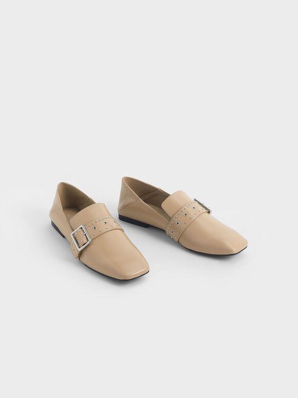 Grommet Buckle Step-Back Loafers, Nude, hi-res