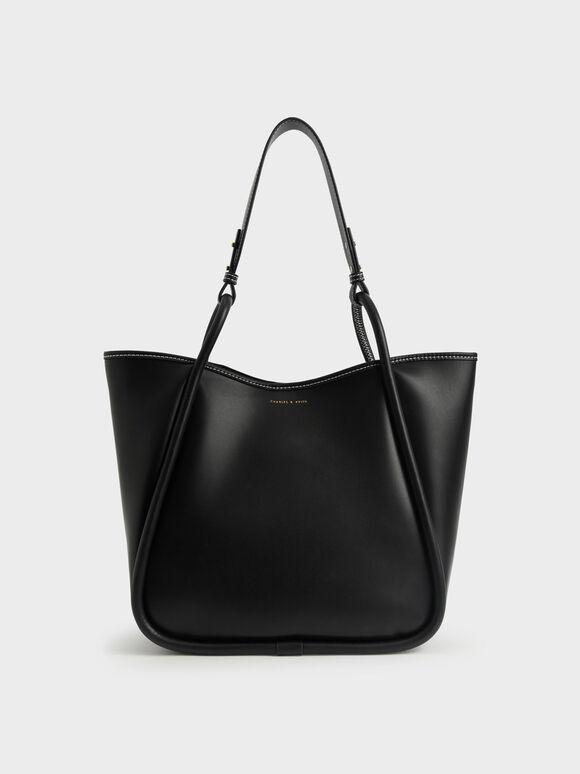 Circle Handle Tote Bag, Black, hi-res