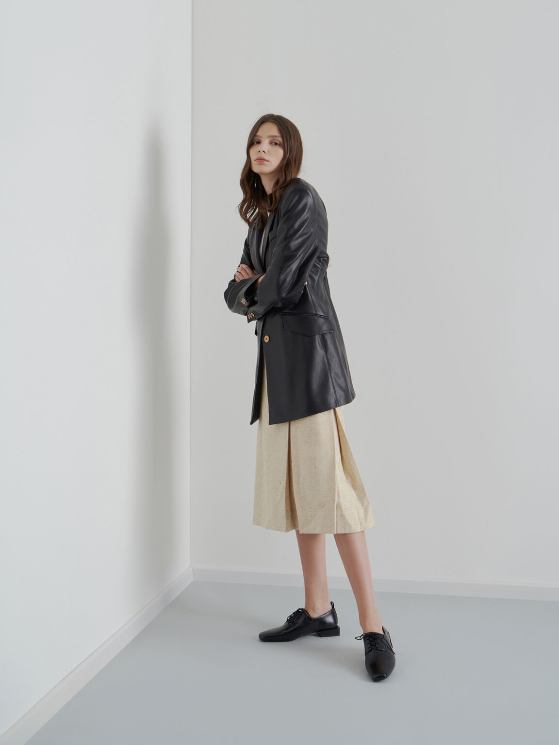 Square Toe Oxford Shoes, Black, hi-res