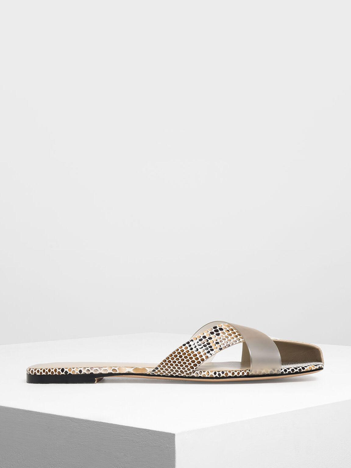 Asymmetrical Strap Snake Print Slide Sandals, Pink, hi-res