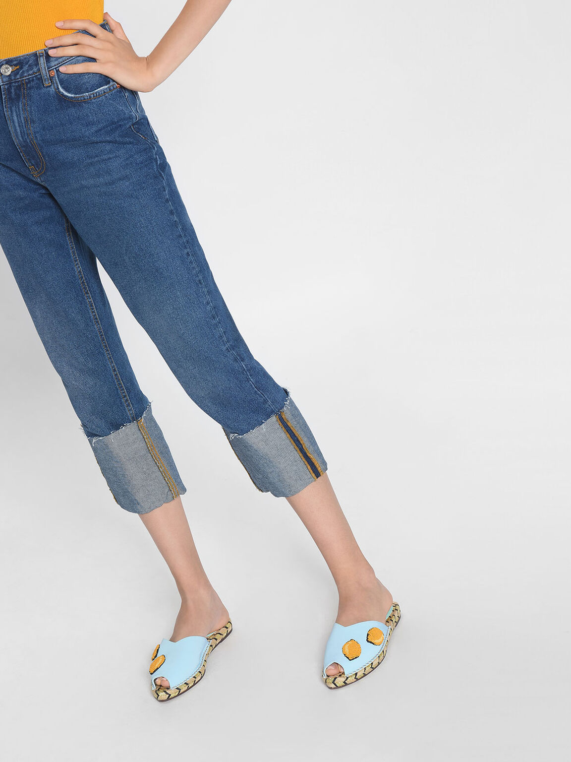 Beaded Espadrille Sliders, Blue, hi-res