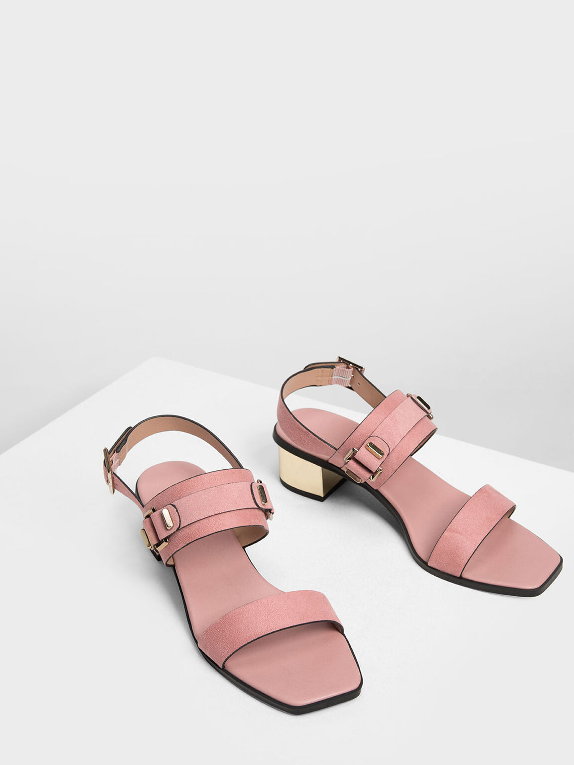 Chrome Block Heel Sandals, Blush, hi-res