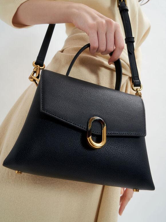 Stone-Embellished Front Flap Bag, Black, hi-res