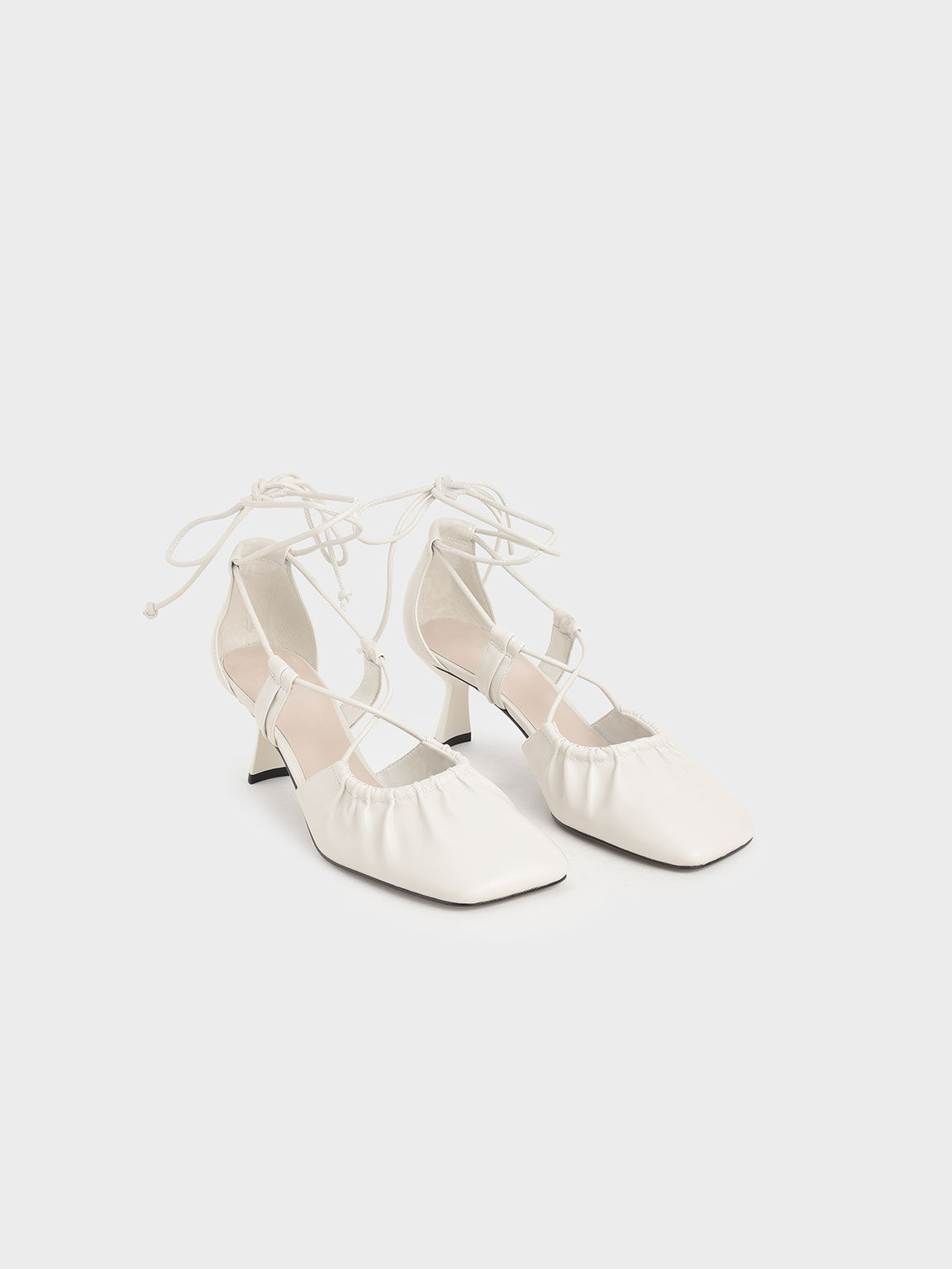 Ruched Ankle Tie Heels, White, hi-res