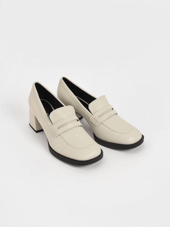 Penny Loafer Court Shoes, Chalk, hi-res