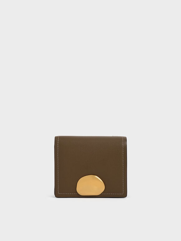 Metallic Accent Snap Button Card Holder, Khaki, hi-res