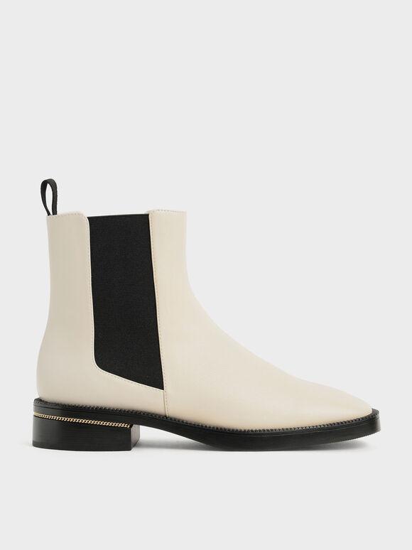 Chain-Trim Heel Chelsea Boots, Chalk, hi-res