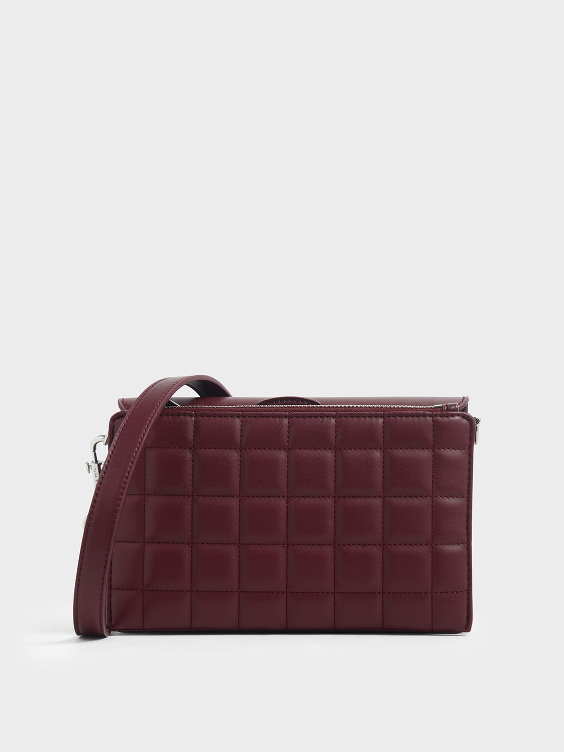 Removable Quilted Pouch Boxy Shoulder Bag, Burgundy, hi-res