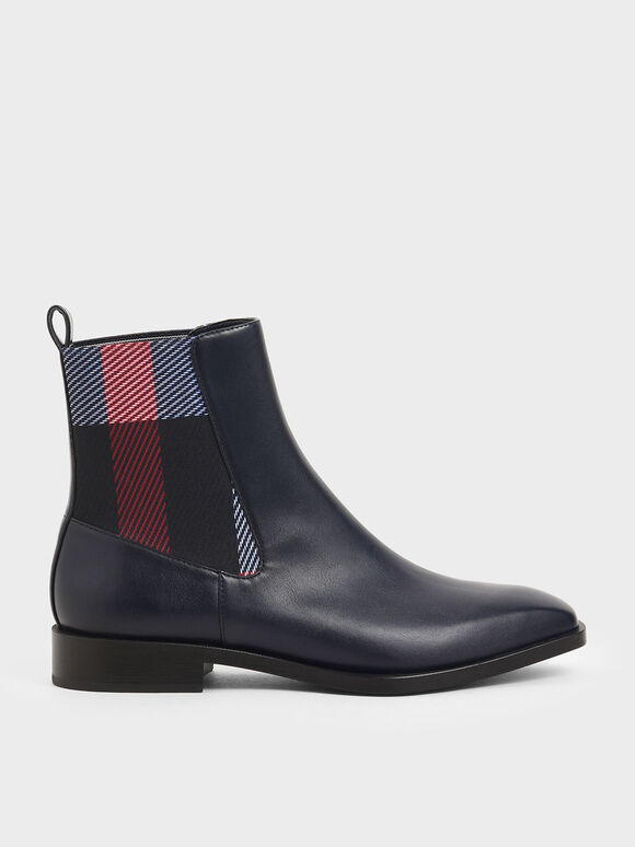 Mini Square Toe Chelsea Boots, Dark Blue, hi-res